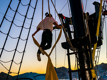 Acrobatics enhance the Pirate Show for kids and all the family